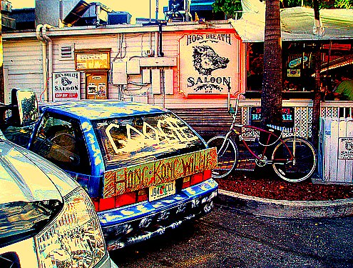 Hong Kong Willie Google Car at  Hog's Breath in Key West. Green artist
